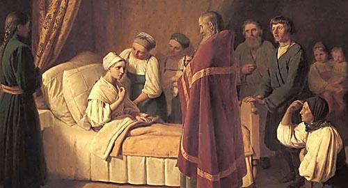 Соборование умирающей. Худ. А.Венецианов